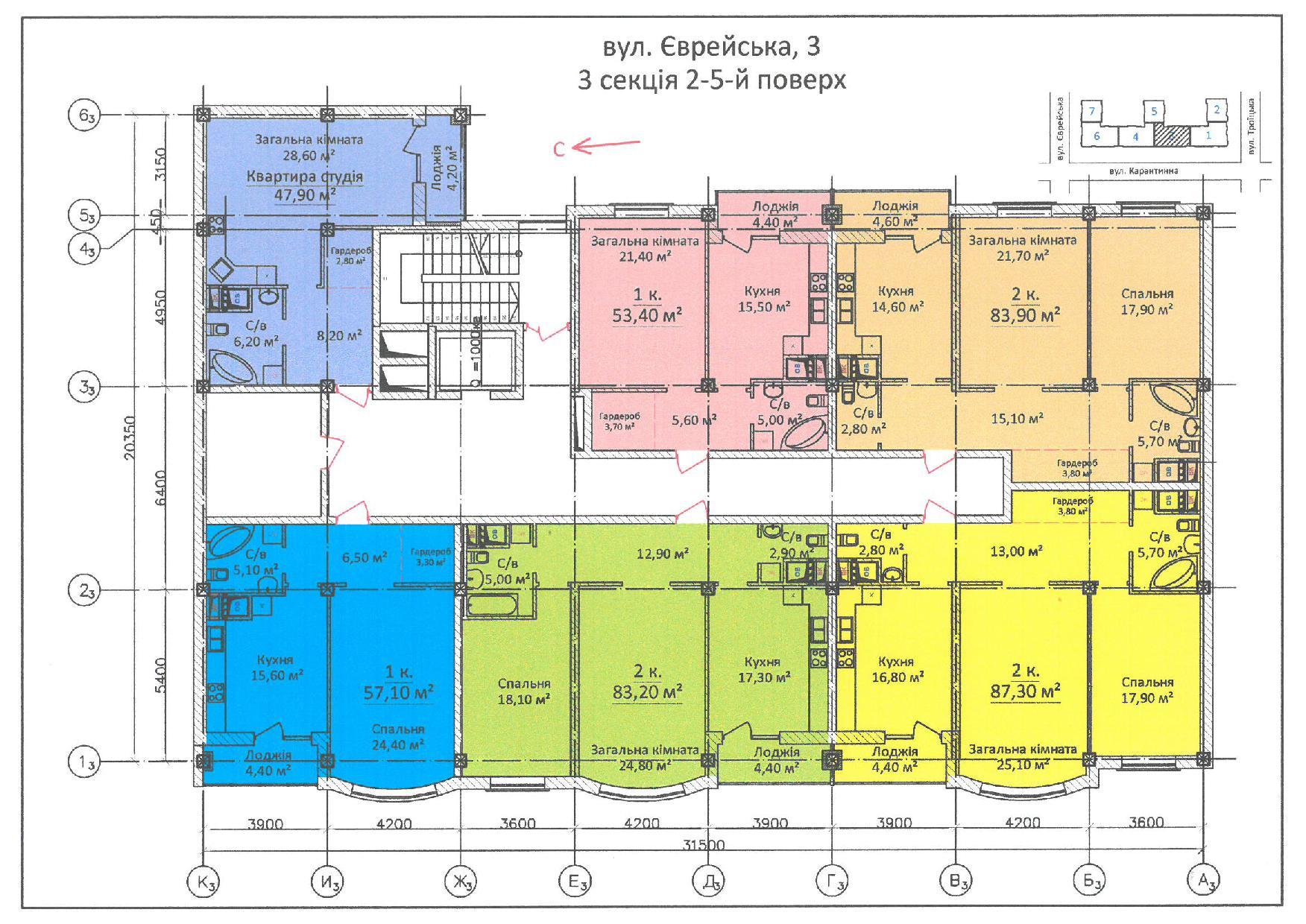 ЖК Дом на Еврейской (Чайная фабрика Будова) / Секция 3 / 2-5 этажи