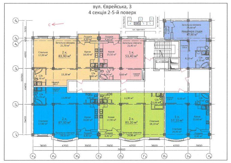 ЖК Дом на Еврейской (Чайная фабрика Будова) / Секция 4 / 4-5 этажи