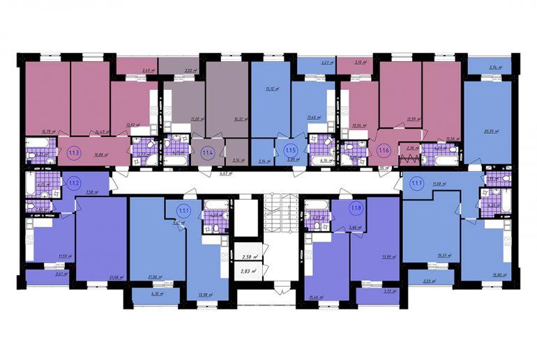 ЖК Чайка / Секция 4 / План типового этажа