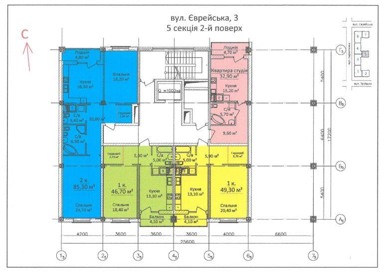 ЖК Дом на Еврейской (Чайная фабрика Будова) / Секция 5 / 2 этаж