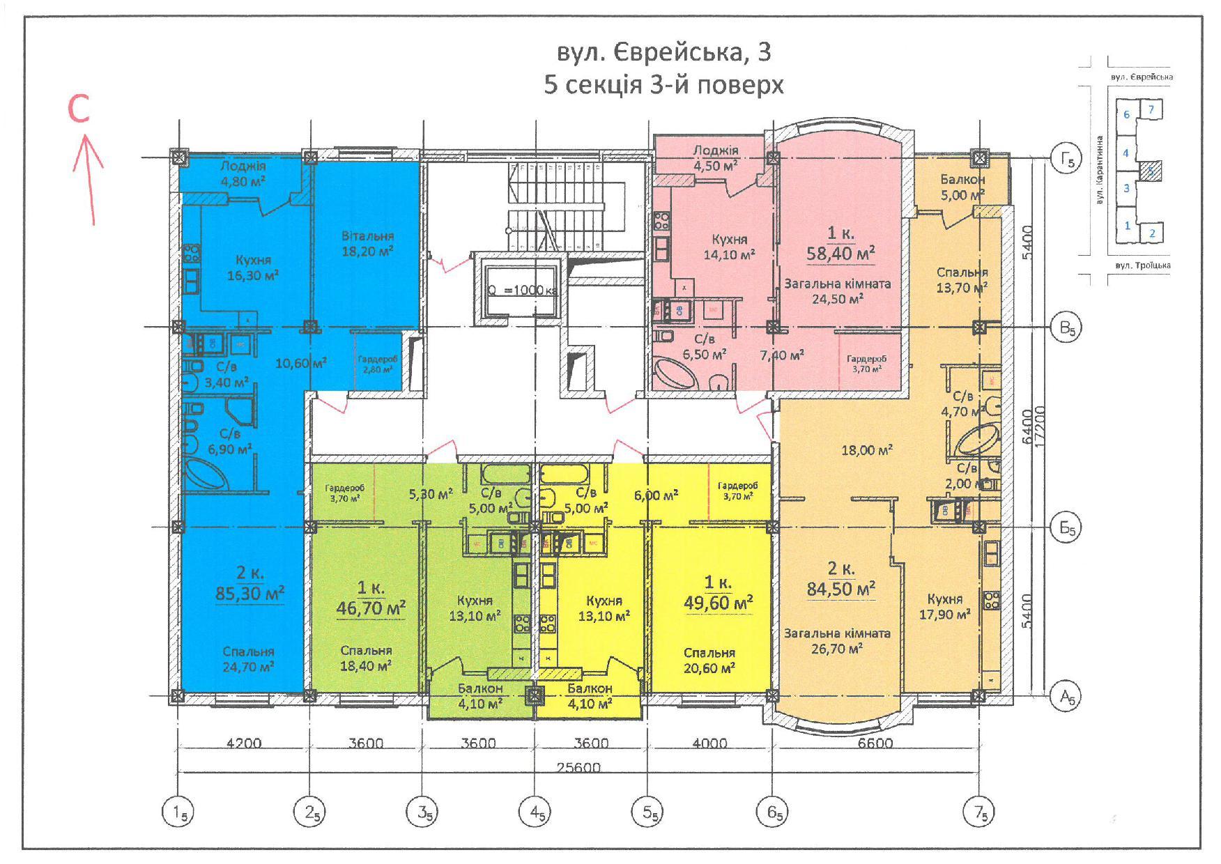 ЖК Дом на Еврейской (Чайная фабрика Будова) / Секция 5 / 3 этаж