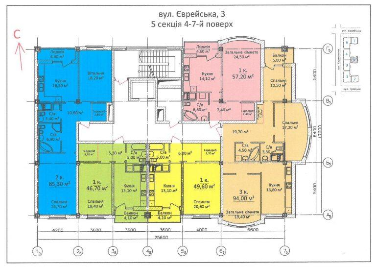ЖК Дом на Еврейской (Чайная фабрика Будова) / Секция 5 / 4-7 этаж