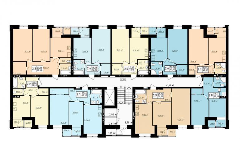 ЖК Чайка / 5 секция / План типового этажа