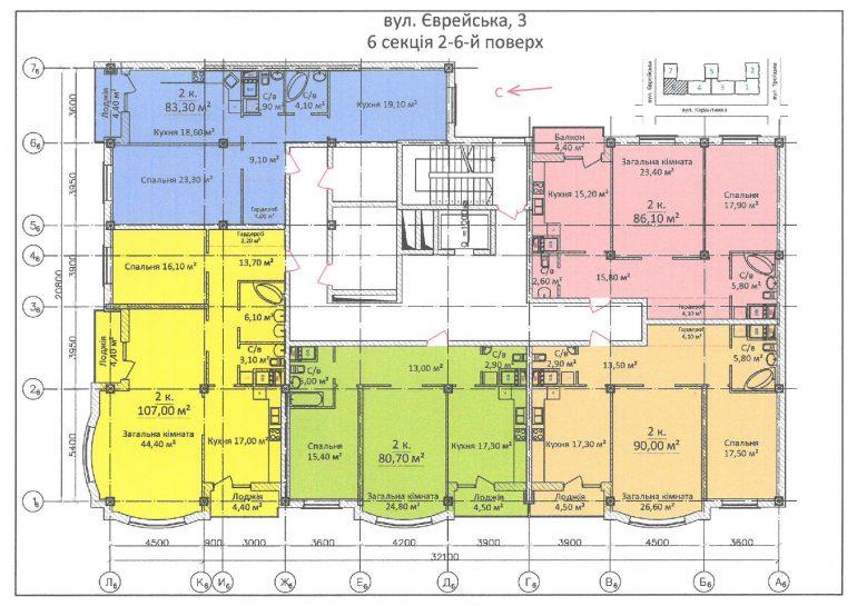 ЖК Дом на Еврейской (Чайная фабрика Будова) / Секция 6 / 2-6 этажи