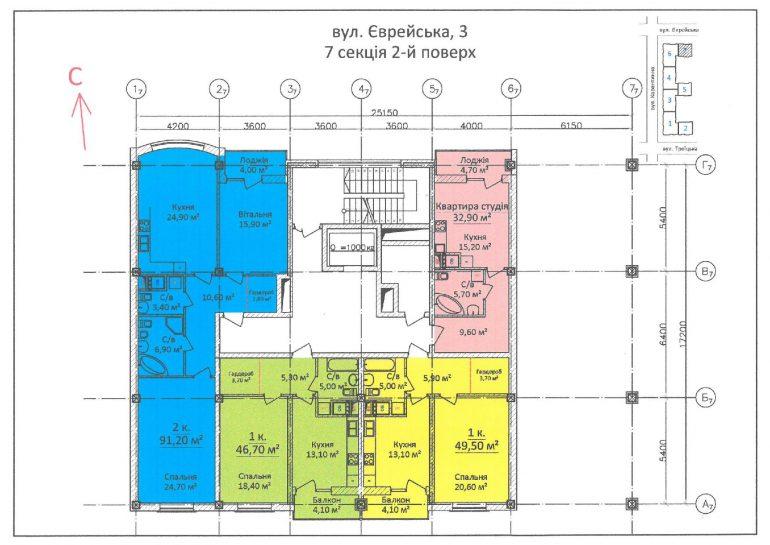ЖК Дом на Еврейской (Чайная фабрика Будова) / Секция 7 / 2 этаж