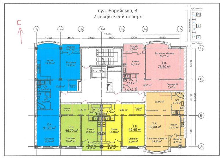 ЖК Дом на Еврейской (Чайная фабрика Будова) / Секция 7 / 3-5 этажи