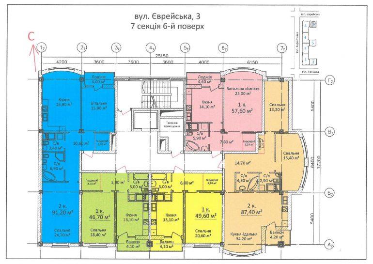 ЖК Дом на Еврейской (Чайная фабрика Будова) / Секция 7 / 6 этаж