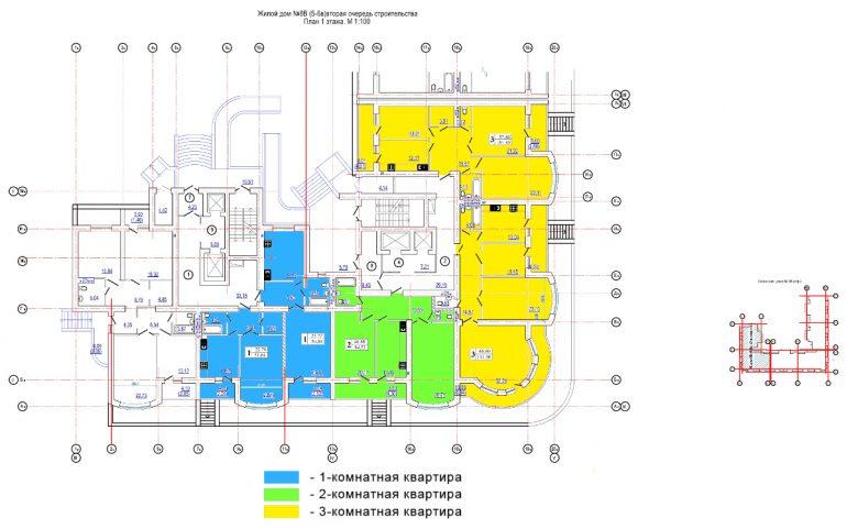 ЖК Победа / 5-6 секции / План 1-го этажа