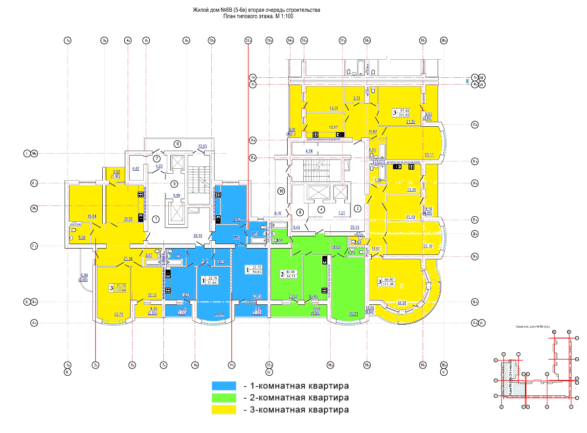 ЖК Победа / 5-6 секции / План типового этажа