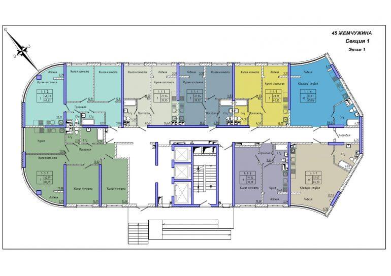 45 Жемчужина / Секция 1 / План 1-го этажа