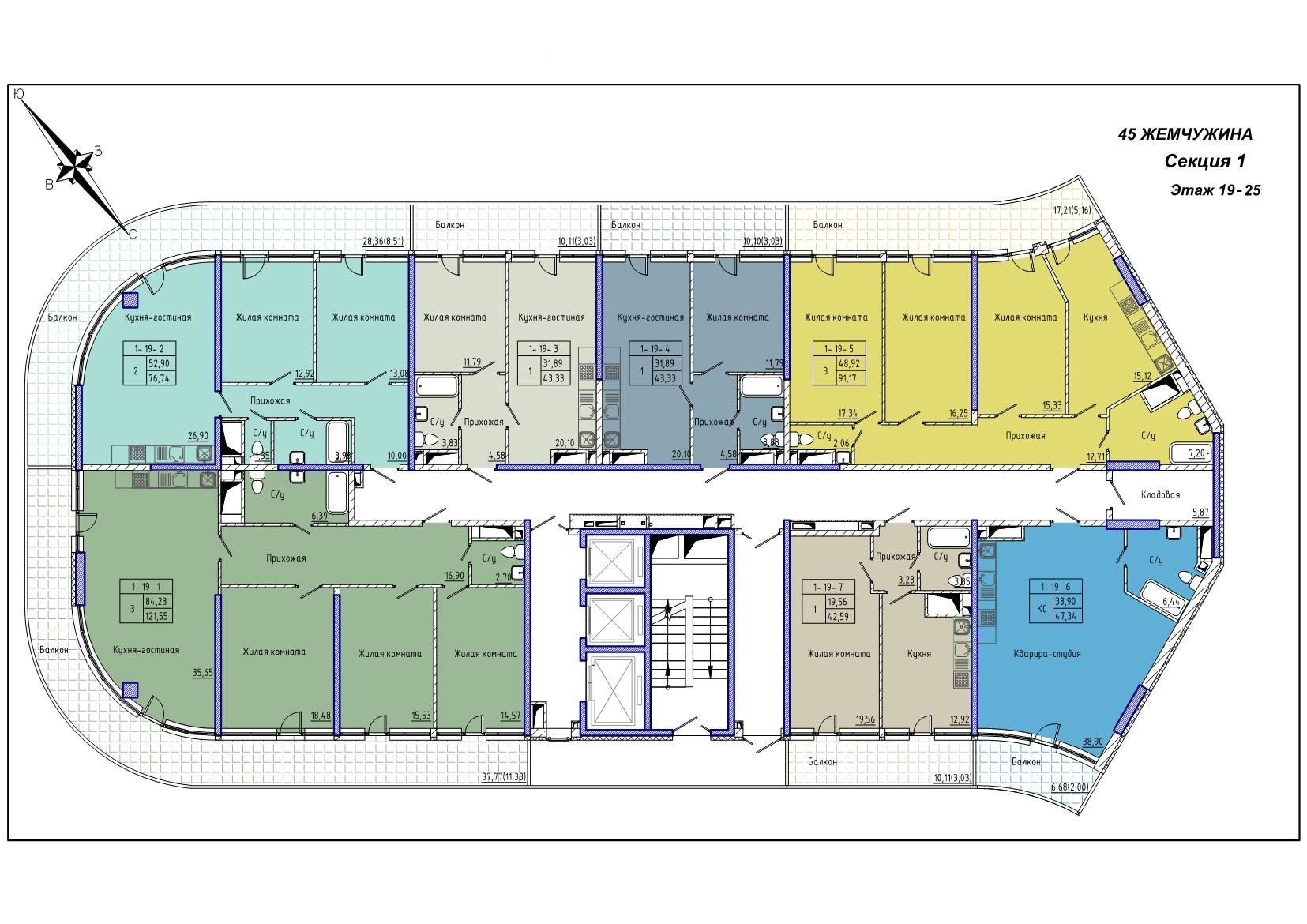 45 Жемчужина / Секция 1 / План 19-25 этажей