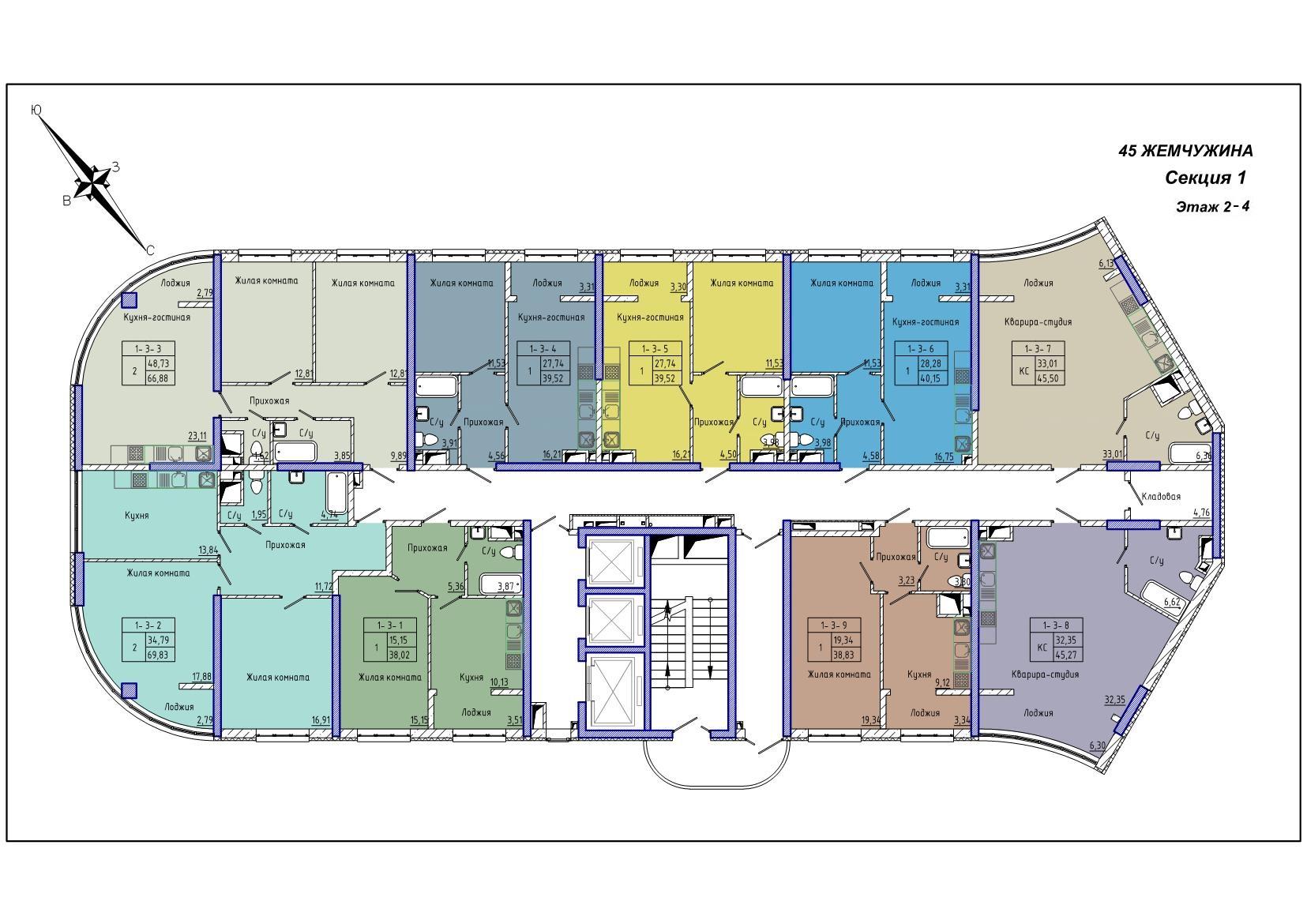 45 Жемчужина / Секция 1 / План 2-4 этажей