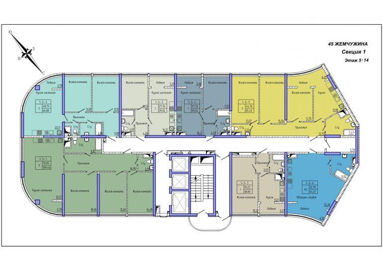 45 Жемчужина / Секция 1 / План 5-14 этажей