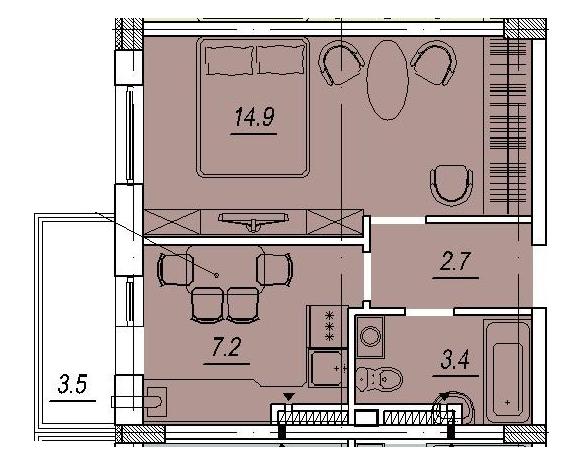 Новый Люстдорф 4 секция Однокомнатная 29,4 Планировка