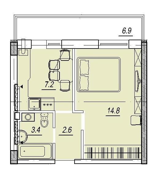 Новый Люстдорф 5 секция Однокомнатная 30,9 Планировка