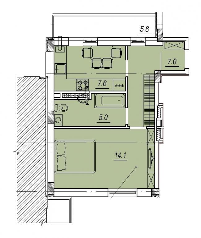 Новый Люстдорф 4 секция Однокомнатная 35,3 Планировка