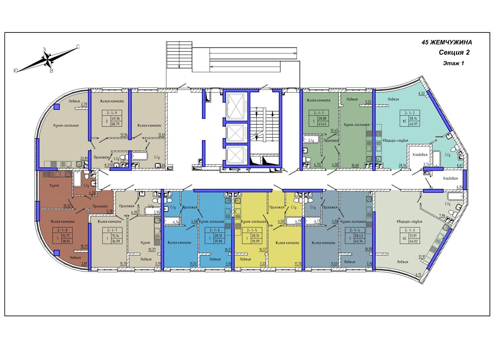 45 Жемчужина / Секция 2 / План 1-го этажа
