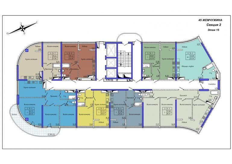 45 Жемчужина / Секция 2 / План 15-го этажа