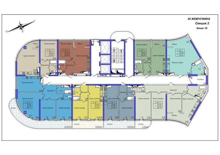45 Жемчужина / Секция 2 / План 18-го этажа