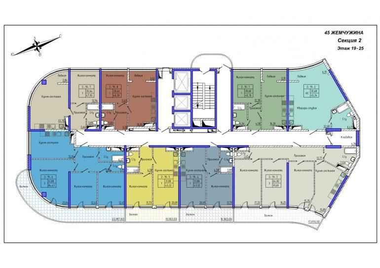 45 Жемчужина / Секция 2 / План 19-25 этажей