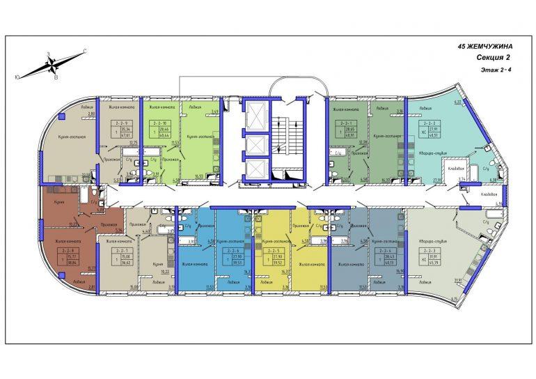 45 Жемчужина / Секция 2 / План 2-4 этажей