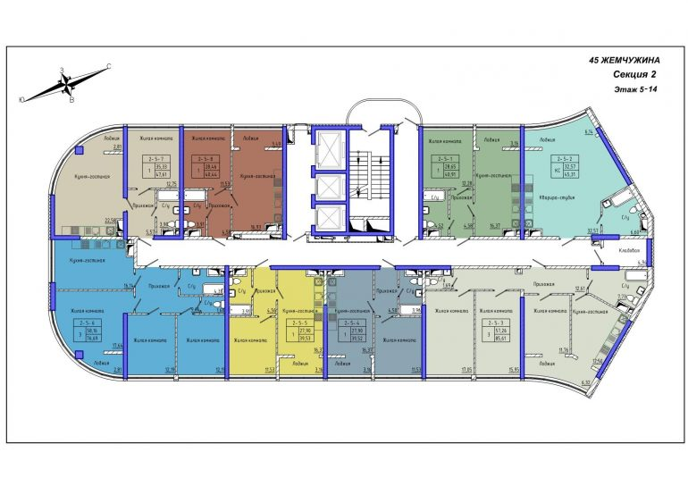 45 Жемчужина / Секция 2 / План 5-14 этажей