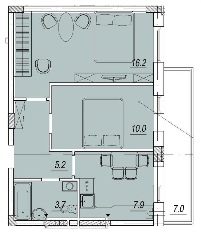 Новый Люстдорф 3 секция Двухкомнатная 45,1 Планировка