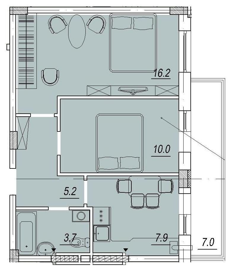 Двухкомнатная - ЖК Новый ЛюстдорфПроданаПлощадь:45,1m²