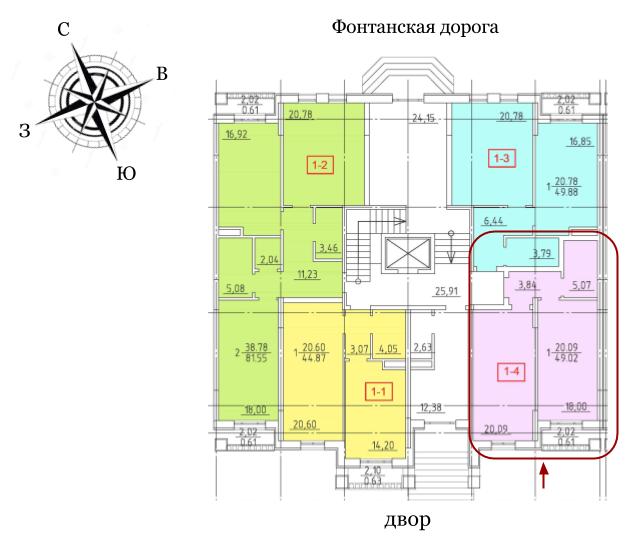 23 Жемчужина Однокомнатная 41,6 Расположение на этаже