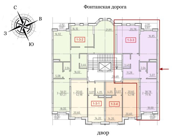 23 Жемчужина Двухкомнатная 79,2 Расположение на этаже