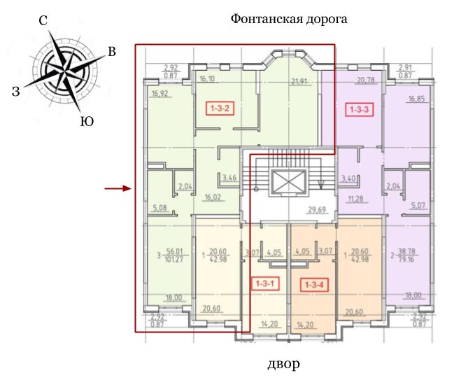 23 Жемчужины Трехкомнатная 99 Расположение на этаже