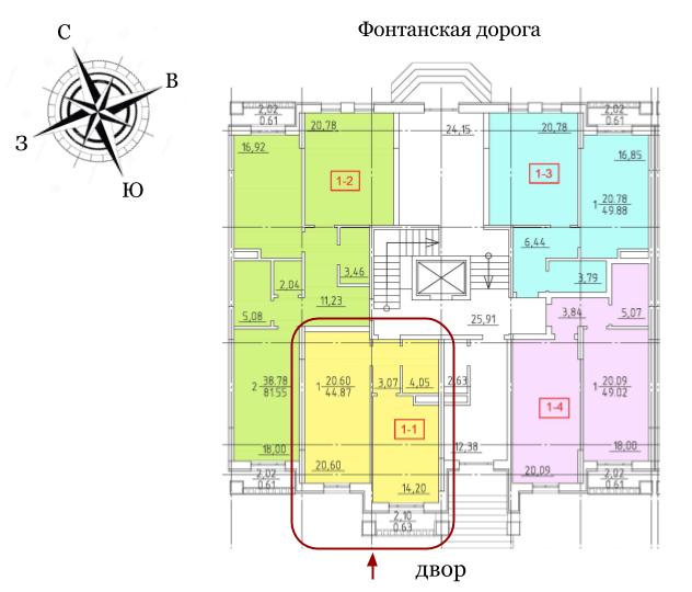 23 Жемчужина Однокомнатная 42,98 Расположение на этаже