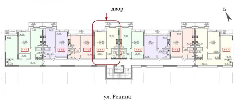 28 Жемчужина Однокомнатная 43,93 Расположение на этаже