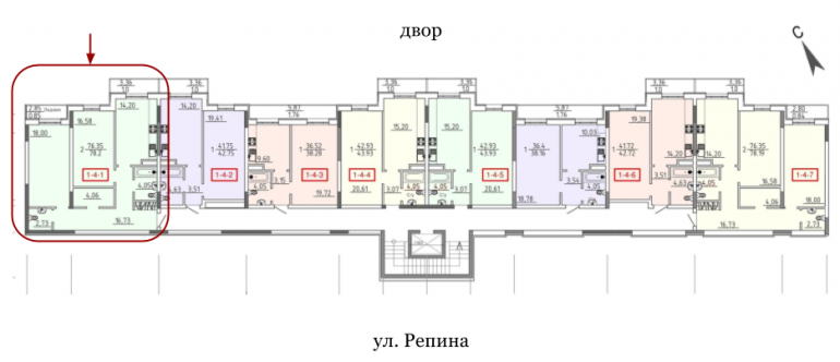 28 Жемчужина Двухкомнатная 77,2 Расположение на этаже