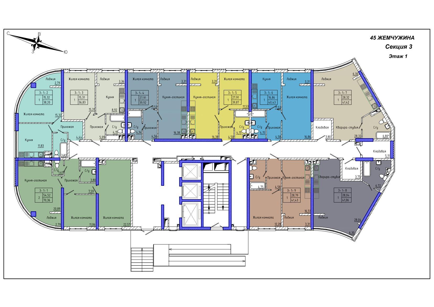 45 Жемчужина / Секция 3 / План 1-го этажа