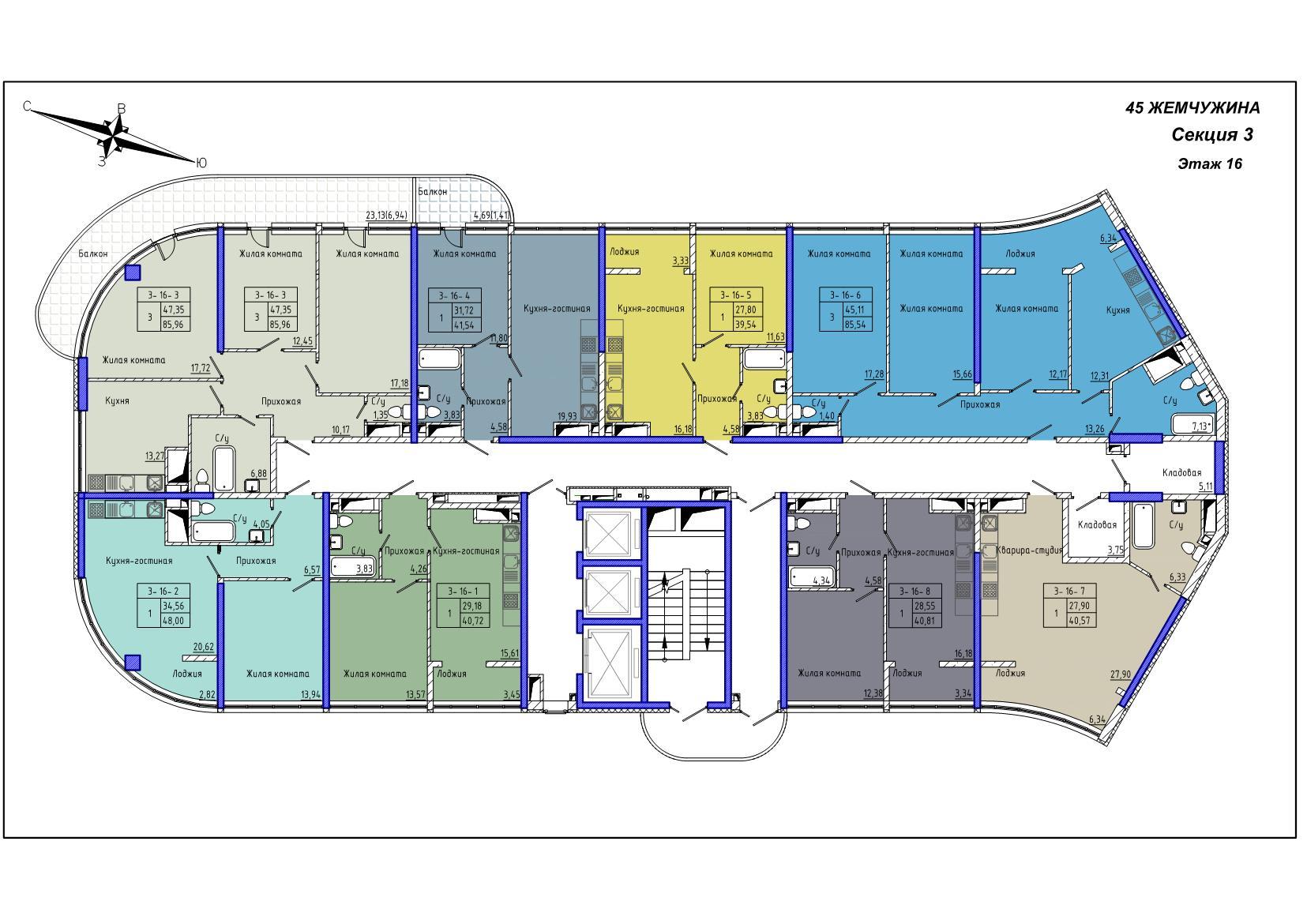 45 Жемчужина / Секция 3 / План 16-го этажа