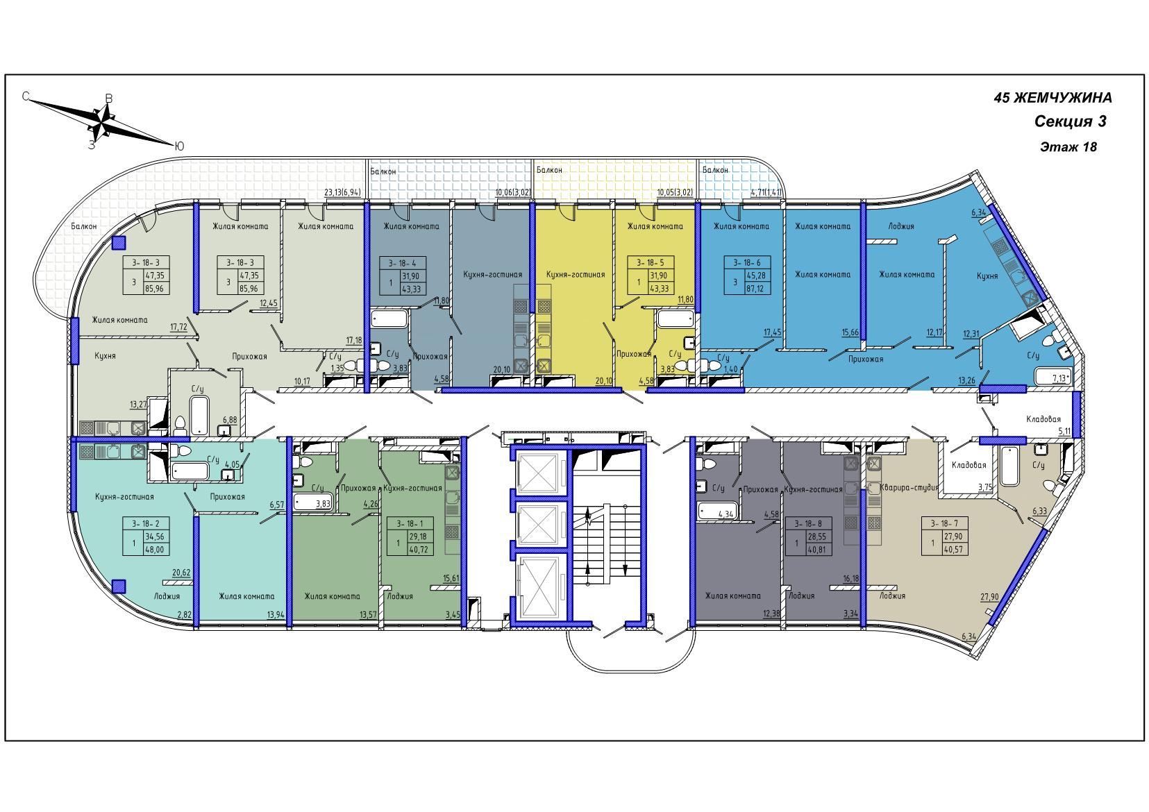 45 Жемчужина / Секция 3 / План 18-го этажа