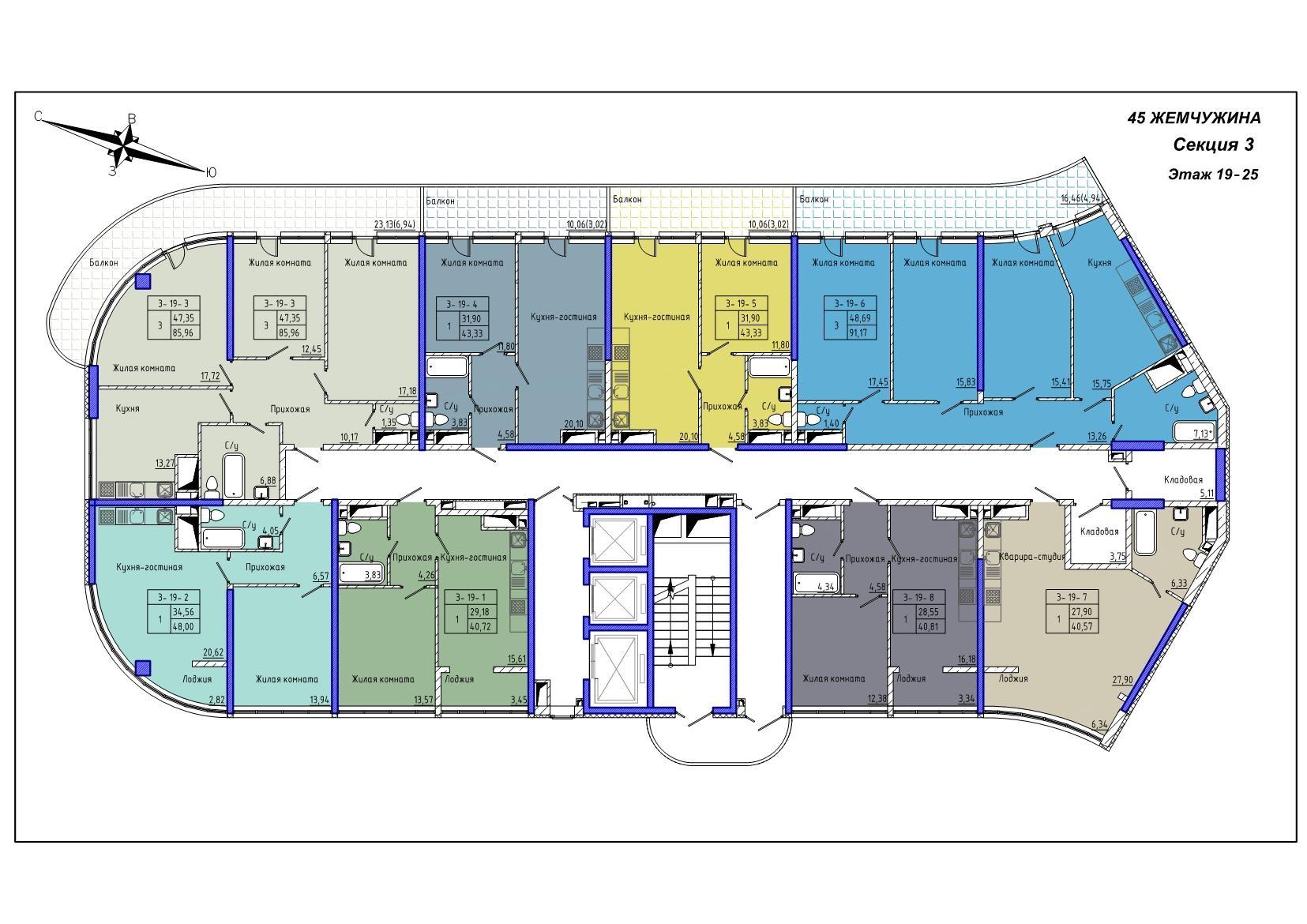 45 Жемчужина / Секция 3 / План 19-25 этажей