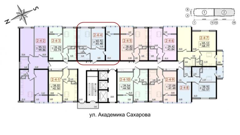 64,28 30 Жемчужина Двухкомнатная Расположение на этаже