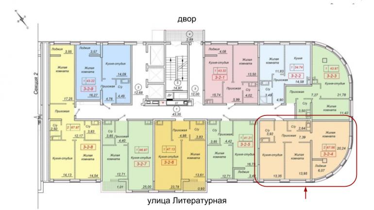 35 Жемчужина Двухкомнатная 76,19 Расположение на этаже