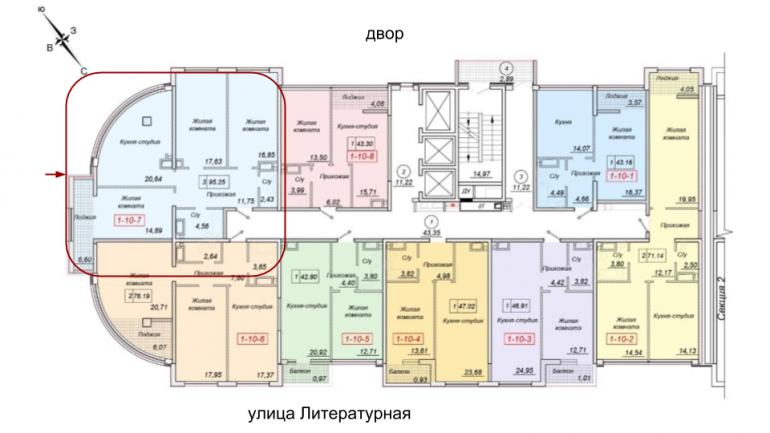 35 Жемчужина Трехкомнатная 95,25 Расположение на этаже