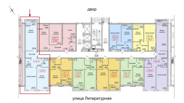78,5 кв.м 35 Жемчужина Двухкомнатная Расположение на этаже