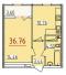 Однокомнатная - ЖК 34 ЖемчужинаПроданаПлощадь:37,81m²