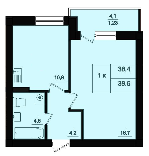 Однокомнатная - ЖК Парк Фонтанов$23160Площадь:38,6m²