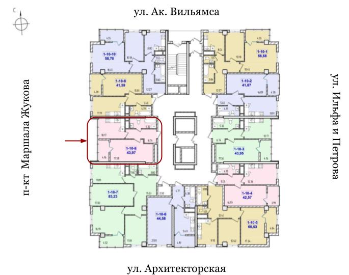 40 Жемчужина Однокомнатная 43,97 Расположение на этаже