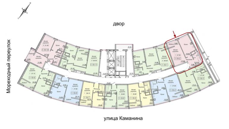 47,4 кв.м 43 Жемчужина Однокомнатная Расположение на этаже