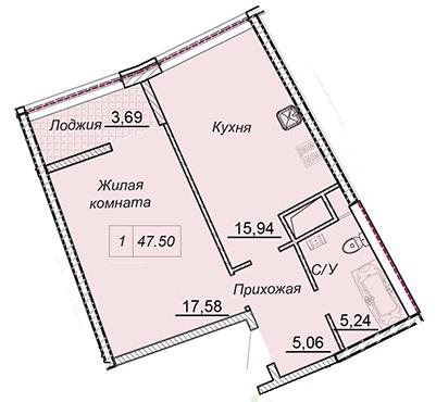 Однокомнатная - 43 Жемчужина (Сорок третья)$45640Площадь:47,1m²