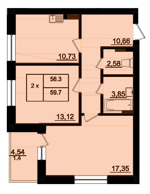 Двухкомнатная - ЖК Парк Фонтанов$37014Площадь:59,7m²