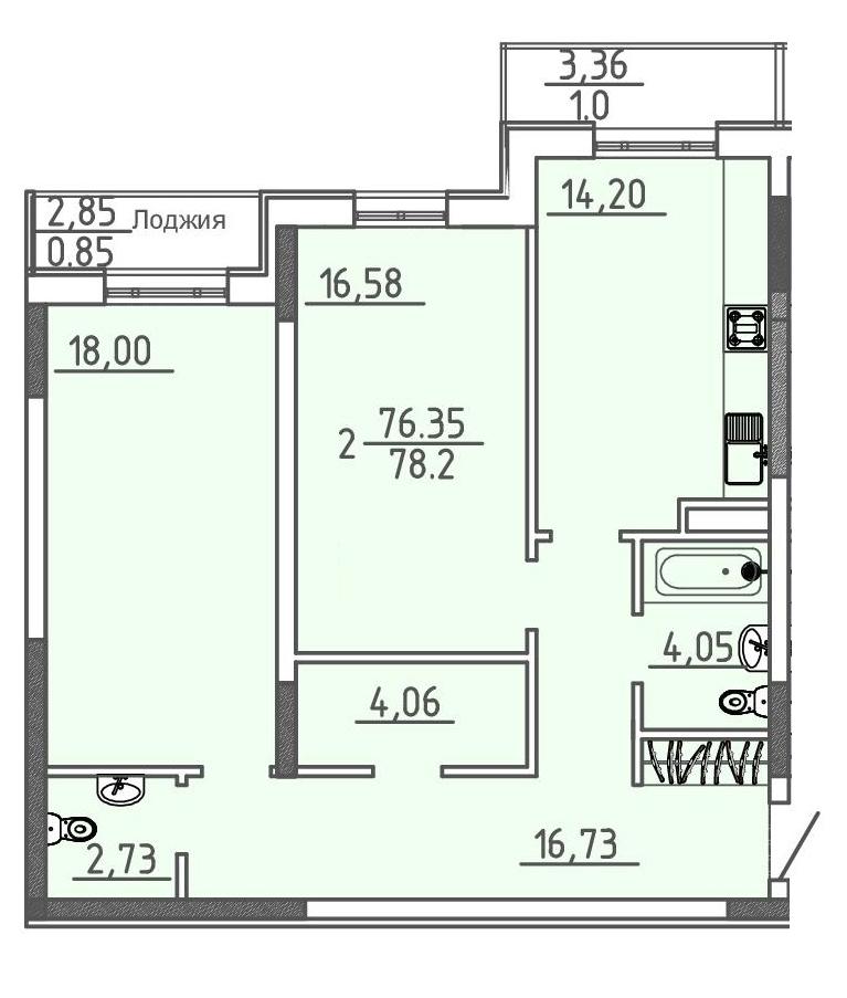 Двухкомнатная - ЖК 28 Жемчужина$106304Площадь:77,2m²