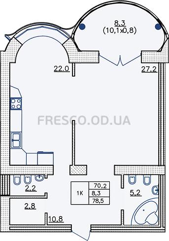 Однокомнатная - ЖК Французский бульвар, 29$160925Площадь:78,5m²